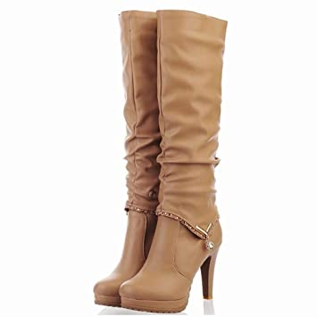Willsky Botas Altas para Mujer, Botas de Caballero de tacón Alto Botas largas Casuales de