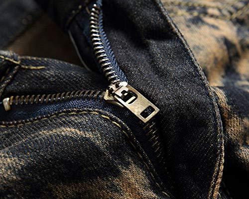 Classique Hommes Troué 5 Jeans Droit Déchiré Denim Style Biker Fit Pantalon Straight Pants Zixing BdR5qwB