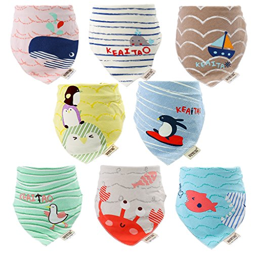 inSinfant 8-Pack Bandana Pattern Baby Bib,100% Organic Cotton,Soft and Absorbent for Boys&Girls Bibs ()