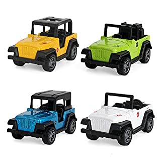 BeebeeRun Jeep Toys Pull Back Vehicles, Jeep Toy Model Vehicles Toy Gifts for Baby Toddler Boys Girls, 4 Pieces Gift Pack