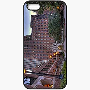 Protective Case Back Cover For iPhone 5 5S Case Home Lights Trees Black