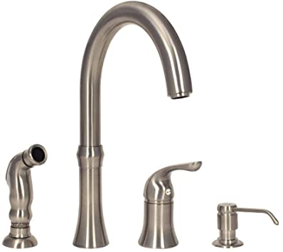 Mr Direct 710 Bn 4 Hole Kitchen Faucet In Brushed Nickel Touch