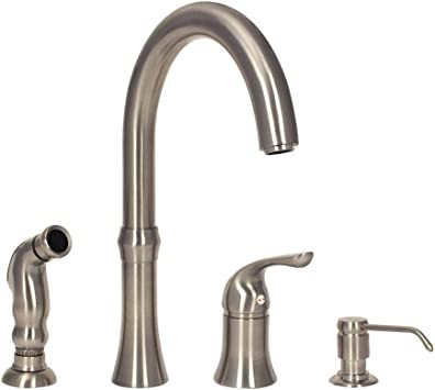 Amazon Com Mr Direct 710 Bn 4 Hole Kitchen Faucet In Brushed Nickel Home Improvement