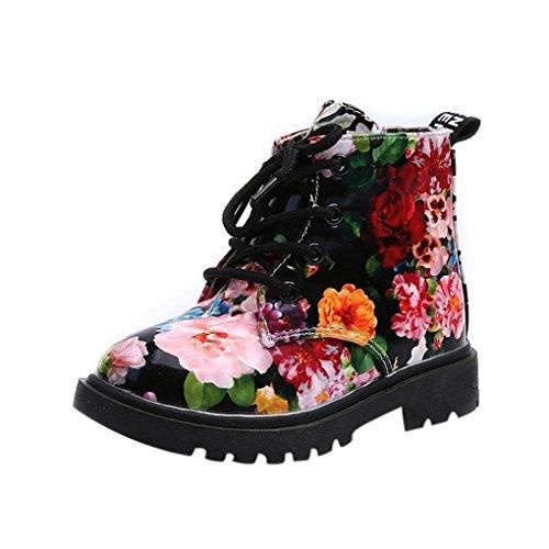 Ouneed® Krabbel schuhe , Herbst Winter Mädchen Schule Blumen Kinder Schuhe Baby Martin Stiefel Casual Kinder Stiefel Schwarz