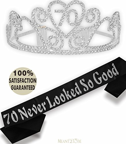 70th Birthday Tiara and Sash, HAPPY 70th Birthday Party Supplies, 70 & Fabulous Black Glitter Satin Sash and Crystal Tiara Birthday Crown for 70th Birthday Party Supplies and Decorations (Silver)