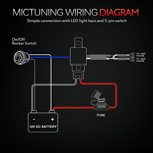 MICTUNING    HD 12 Gauge 600W LED Light Bar    Wiring    Harness