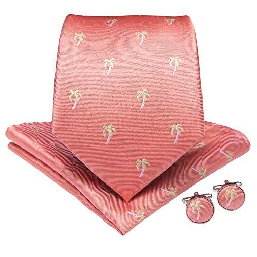 DiBanGu Mens Coral Necktie Silk Novelty Tie Handkerchief Cufflink Tie Clip Set with Gift Box Party