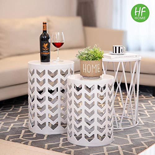 Multifunctional Nesting Round Metal Coffee End Tables, Set of 3 Modern Furniture Nightstands Decor Side Tables Plant Stand for Home Office Indoor and Garden Stool Outdoor - White(Ship from US) from HFHOME