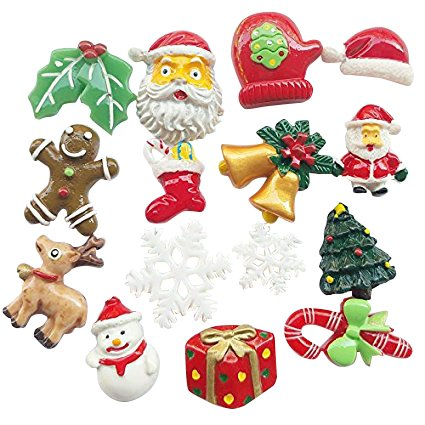 Chenkou Craft Random 20pcs Mix Lots Resin Flatback Flat Back X'Mas Christmas Santa Tree Claus Beer Snowman Snowflake Jingle Bell Sock Craft Embellishment