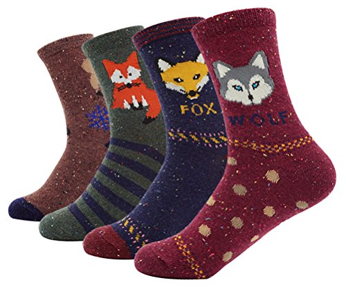 Women's Colorful Cotton Socks Animal Pattern Casual Socks 4 Pairs, Multi Color (Halloween Ideas)