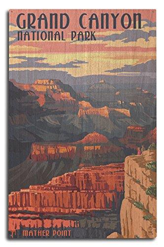 (Lantern Press Grand Canyon National Park, Arizona - Mather Point (10x15 Wood Wall Sign, Wall Decor Ready to Hang))