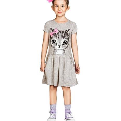 Niñas Patrón de Gato Vestidos - Moda Fiesta Princesa Vestidos Elegante Mangas Cortas Cuello Redondo Verano