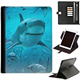 ipad air 2 shark - Hairyworm - Group of sharks underwater Apple iPad Air 2, iPad 6 leather side flip wallet 360 swivel case, folio cover with Apple pencil / pen holder, card slots, paper slot, metal buckle, stand points