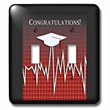 Beverly Turner Graduation Design - Medical Theme, Congratulations, Heart Beat Graph, Graduation, Cap, Red - Light Switch Covers - double toggle switch (lsp_234546_2)
