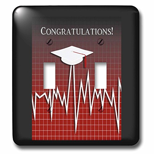 Beverly Turner Graduation Design - Medical Theme, Congratulations, Heart Beat Graph, Graduation, Cap, Red - Light Switch Covers - double toggle switch (lsp_234546_2) by 3dRose