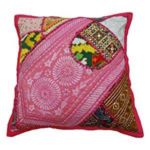 Decorative Cushion Cover Traditional Patchwork Pink Home Decor Pillow Case India 16'' Inches