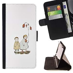 For HTC One M9 Case , Blanca Pastel Mar Amor Pareja- la tarjeta de Crédito Slots PU Funda de cuero Monedero caso cubierta de piel