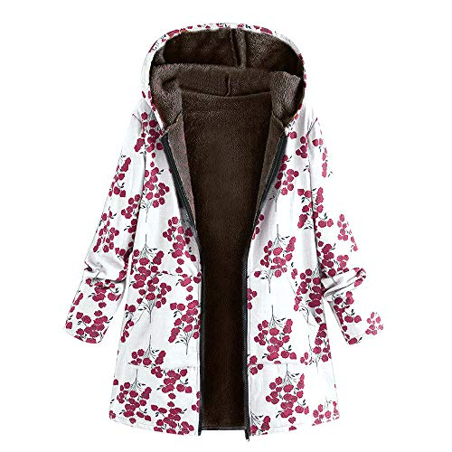 Womens Winter Warm Outwear Casual Floral Print Hooded Pockets Vintage Oversize Coats(White,S)