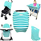 Stretchy Stripes 5-in-1 Baby Car Seat Canopy, Stroller Shade, Shopping Cart Cover, High Chair Cover and Nursing Cover All-In-One Universal Fit in Teal and White Stripes by Luvit