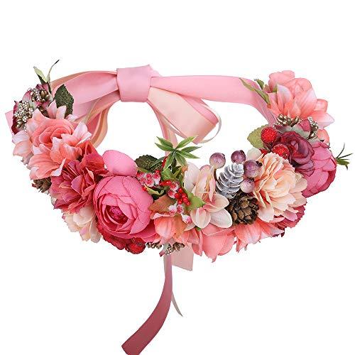 AWAYTR Bohemia Flower Crown Headband - Exquisite Pinecone Leaf Berry Flower Headband Flower Halo Wreath (Pink)