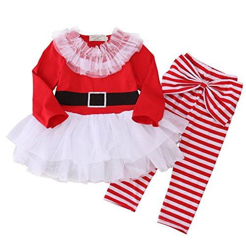 ONE'S 2PCS Baby Girls Long Sleeve Tutu Santa Claus Dress with Striped Pant Christmas Outfits (6-12 Months) -