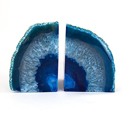 StarStuff.Rocks Blue Agate Quartz Geode Book Ends - Made from the finest grade Brazilian agate -