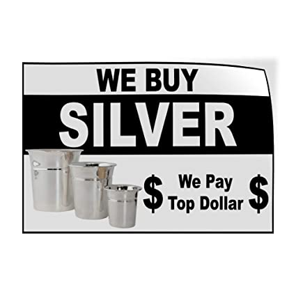 One Sticker 69inx46in Decal Sticker Multiple Sizes We Buy Silver Black and Silver Business We Buy Silver Outdoor Store Sign Black