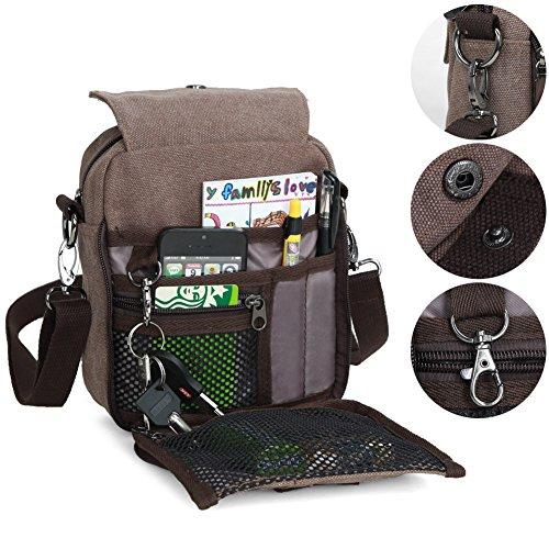 (Zicac Men's Small Vintage Multipurpose Canvas Shoulder Bag Messenger Bag Purse (Coffee))