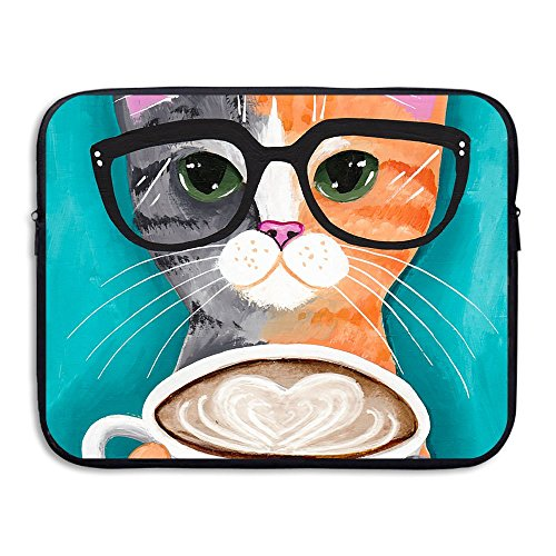Laptop Sleeve Case Protective Bag Coffee Cat Illustration Printed Ultrabook Briefcase Sleeve Bags Cover For 13 Inch Macbook Pro/Notebook/Acer/Asus/Lenovo - Female Singapore Model