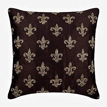Diseñador marrón cojines para sofas, floral fundas de ...
