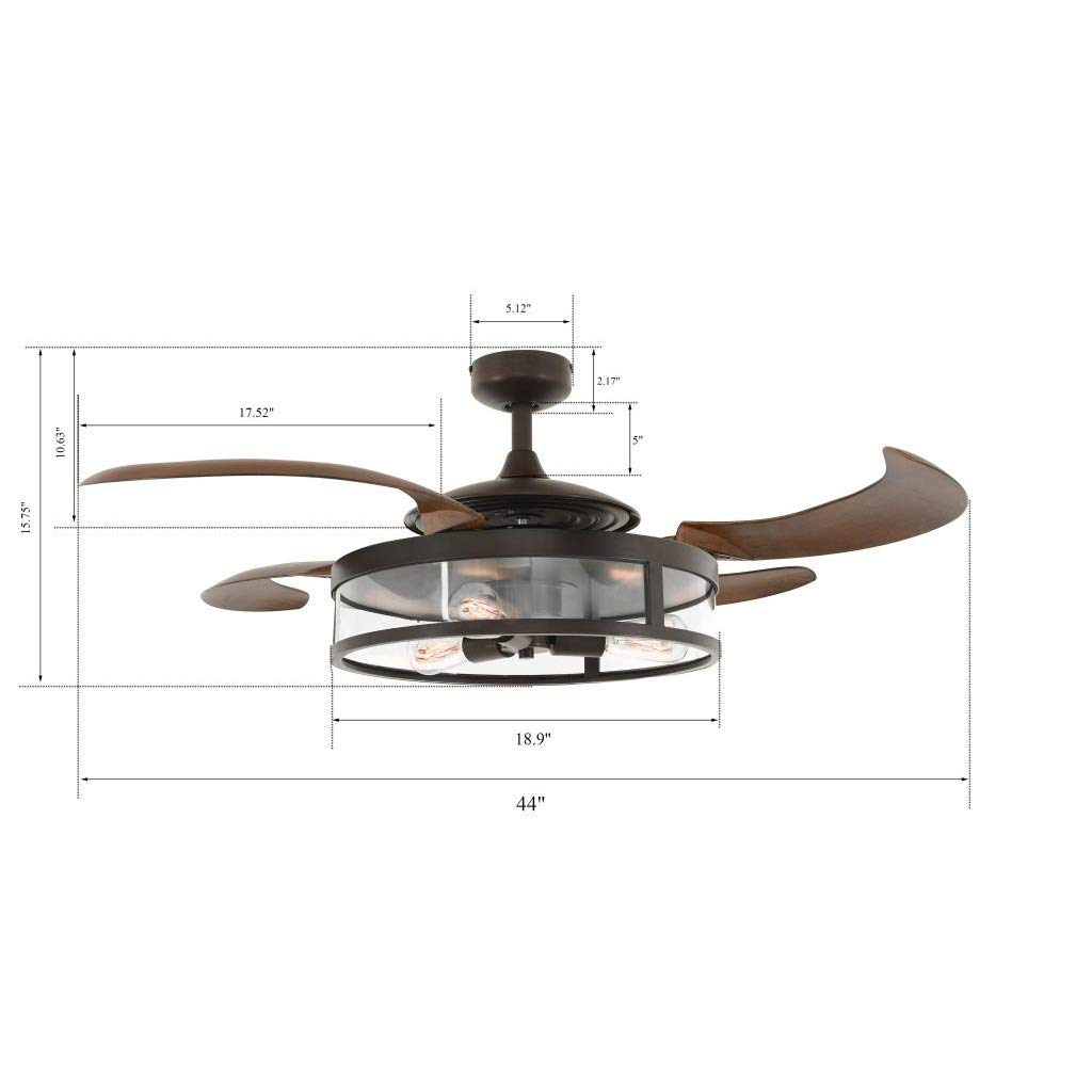 Amazon com fanaway classic 48 inch fan with clear 4 retractable blades with led light kit oil rubbed bronze home improvement
