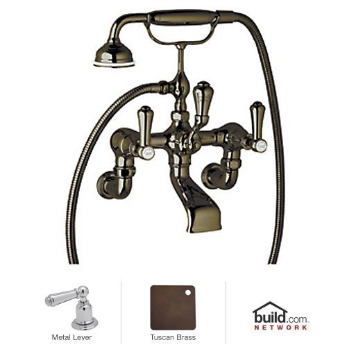 Rohl U.3006LS/1-EB A7645Tcb U.3006Ls/1 Georgian Era Floor Mount Exposed Wall Mount Tub Filler Faucet, English Bronze (Georgian Era Exposed Bathtub)