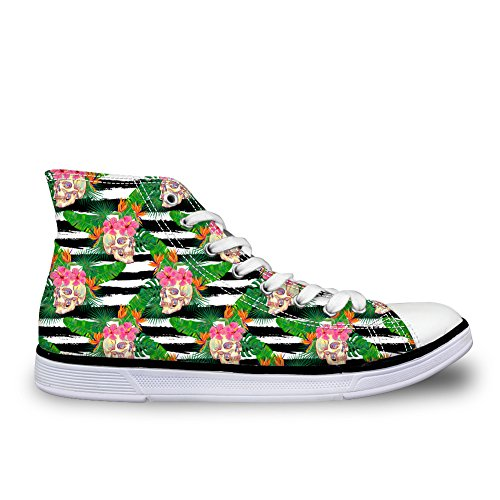 HUGS IDEA Vintage Womens Canvas High Top Lace Up Sneakers Skull 6