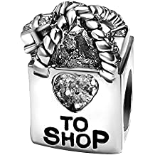 T50Jewelry Love Shop Heart Birthstone Valentine's Day Charm Beads For Bracelets