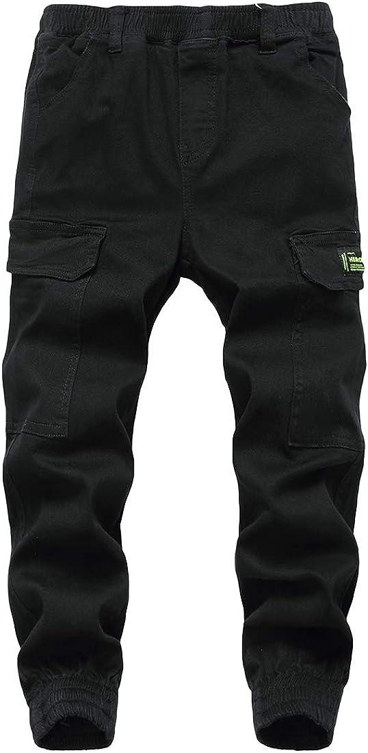 LAUSONS Boys Cargo Trousers Kids Adjustable Waist Jogging Trousers