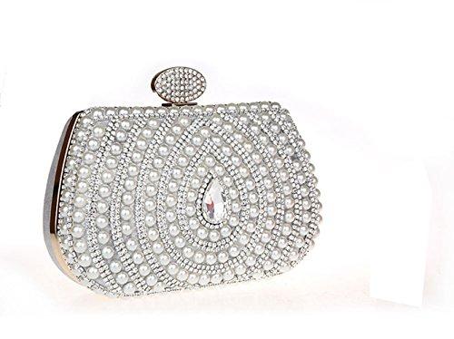 Pochette Soirée Bal Perlé Sac Brillant Pour Argenté Rétro de Femme Cérémonie Elégante Diamanté wqtqTAIUR