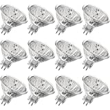 Luxrite LR20250 (12-Pack) 50WMR16/FL EXN 50-Watt Halogen Pin Base Light Bulb, 12V MR16 Halogen Bulb, Glass Cover, Dimmable, 600 Lumens, GU5.3 Bi-Pin Base