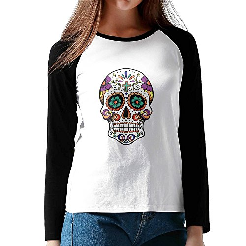 Penguin Rider Costumes (RODNEY Women's Long Sleeve Girl Skull Skeleton Baseball Jersey Raglan T-shirt Tee XXL Black)
