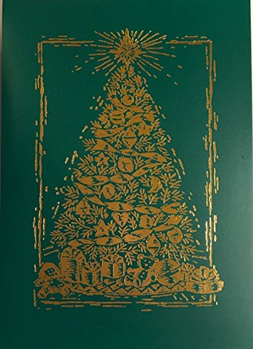 (20) Elegant Gold Foil Embossed Christmas Tree Holiday Cards - Ecru Ivory Envelopes - A Very Merry Christmas (Ivory Gold Envelopes Foil)