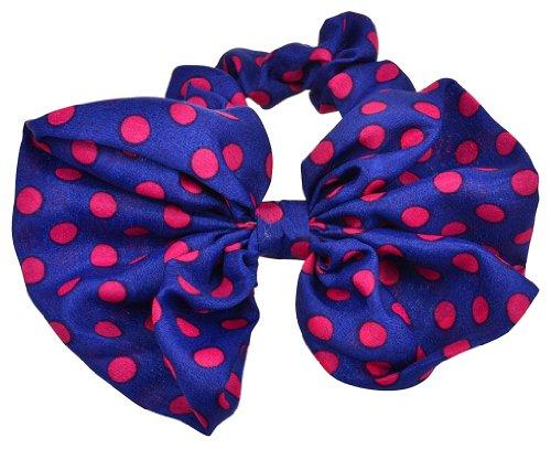 niceeshop(TM) Lovely Big Rabbit Ear Hair Bow Headband Ponytail Holder Hair Tie,Dark Blue and Roseo