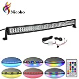 led 42 inch light bar - Nicoko 42 Inch 240w Curved LED Light Bar with Chasing RGB halo ring for 10 Solid Color Changing with Strobe Flashing Spot Flood Combo Beam IP67 waterproof Remote Control Wiring Harness Kit