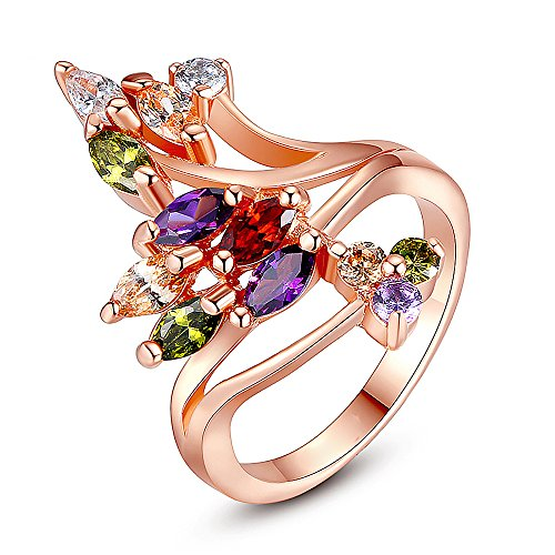 Mutlicolor Swarovski Elements Crystal Fashion Bridal Jewelry Ring for Women (#6, Flower Tree Shape) ()