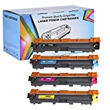 4 Pack - Proosh Compatible Toner Cartridge Set for Brother (TN-221BK, TN-225C, TN-225M, TN-225Y) Black, Cyan, Magenta, Yellow, TN-221 & TN-225 Non OEM; for use in Compatible Printers: Brother HL-3140CW HL-3170CDW MFC-9130CW MFC-9330CDW MFC-9340CDW