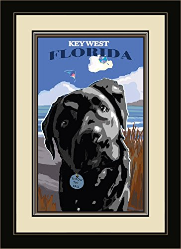 Northwest Art Mall JK-5812 FGDM TTB Key West Florida Throw The Ball Framed Wall Art by Artist Joanne Kollman, 16 x - Florida Key Mall West