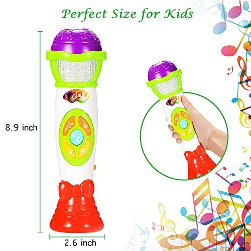Voice Changing and Recording Microphone Toy with Colorful Light for Babies Girls and Toddlers ThinkMax Music Microphone for Kids Pink