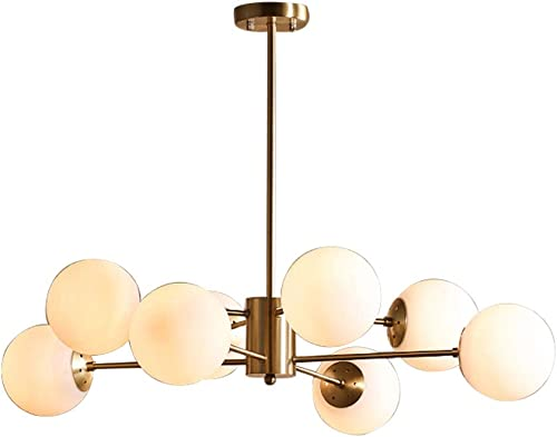 Modo Lighting Sputnik Chandelier Light Globe Shade Frosted Glass Ceiling Pendant Light Modern Brass Kitchen Bedroom Flushmount Fixture 8-Lights