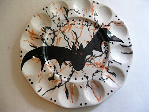 USA handmade Trick or Treat pumpkin Halloween egg platter]()