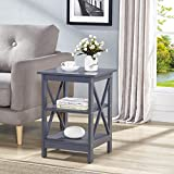 Grey Finish Wooden X-Design Chair Side End Table with 3-tier Shelf Review