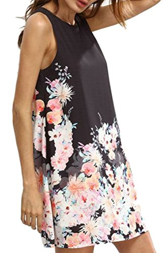 Big Tank A Casual Floral Print Dress line Shift Tops Womens Black Tang Sleeveless 4rOw4Cq