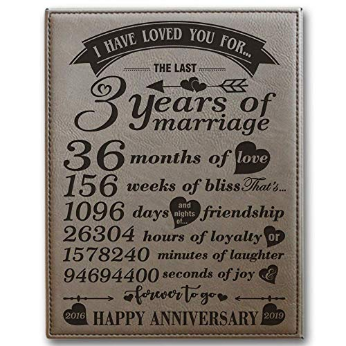 BELLA BUSTA- 8x 10 Vertical- 3 Years of Marriage -2016->2019-Months,Weeks, Days, Hours, Minutes, Seconds-3rd Our 3rd Wedding Anniversary-Engraved Leather Plaque (Light Brown)